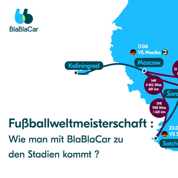 Mit BlaBlaCar zu den Stadien der Fußballweltmeisterschaft reisen