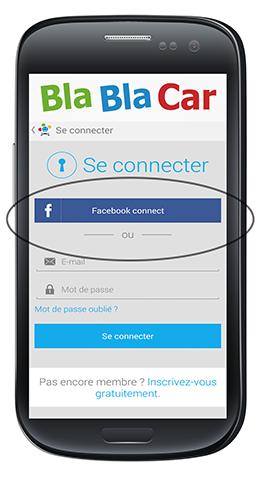 appli de covoiturage blablacar facebook connect