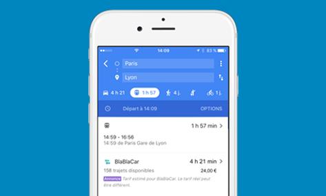 Google Maps liste désormais les trajets en covoiturage de BlaBlaCar